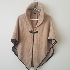 Jackets & Blazers - Tan Single Button Woven Cape/Poncho